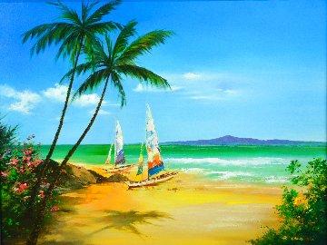 Summer Sands 2015 30x39 Original Painting - Hong Leung