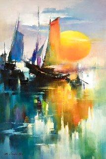 Reflection of Sail  2018 35x23 Original Painting - Hong Leung