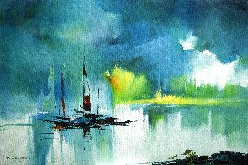 Summer Riverside 2013 35x23 Original Painting - Hong Leung