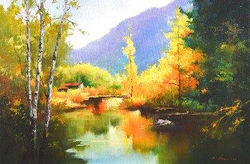 Serene Autumn 2016 24x35 Original Painting - Hong Leung