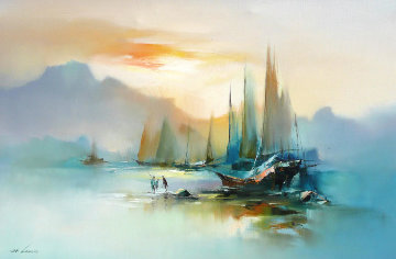 Untitled Boats Original Painting - Hong Leung