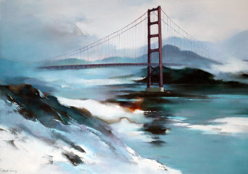 Golden Gate Bridge 1977 36x48 San Francisco Original Painting by Hong Leung