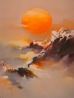 Sun 1979 46x36 Huge Original Painting - Hong Leung