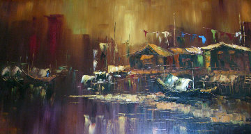 Untitled Painting 30x54 Original Painting - Hong Leung