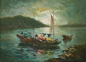 Hong Kong Harbour 26x32 Original Painting - Hong Leung