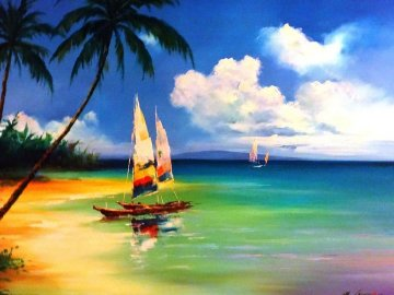 Untitled (Tropical) 2008 40x50 Original Painting - Hong Leung