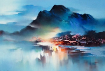 Sleeping Village 1998 38x46 Original Painting - Hong Leung