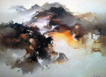 Autumn Village At Dusk 1981 36x48 Huge Original Painting - Hong Leung