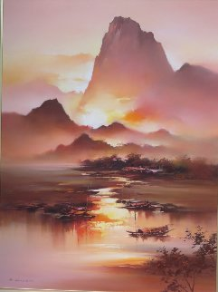 Li River Edge 1990 45x58 Original Painting - Hong Leung