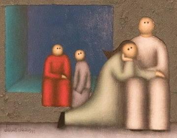 Mourning 1982 16x20 Original Painting by Jesus Leuus
