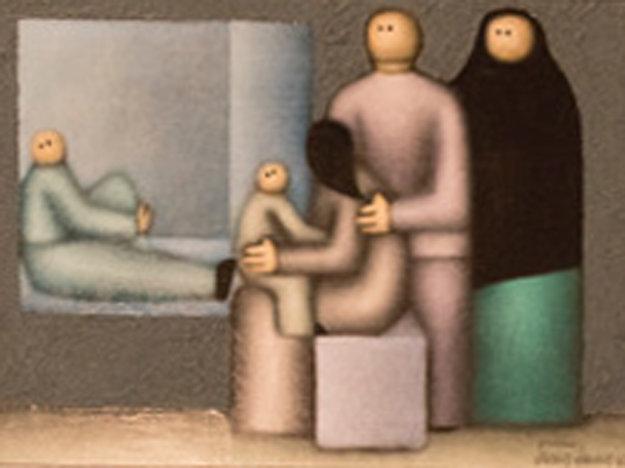 Grouping 1982 12x16 Original Painting by Jesus Leuus