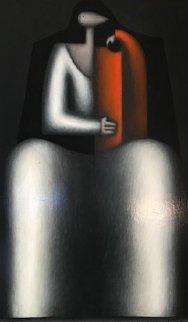 Mother And Child 1982 30x20 Original Painting - Jesus Leuus