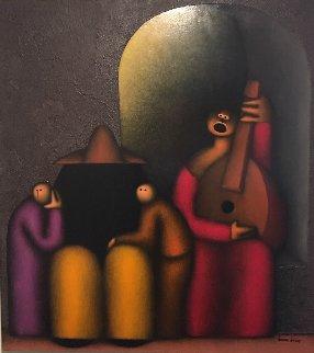 Family Mexico Nov 1970 35x39 Original Painting by Jesus Leuus
