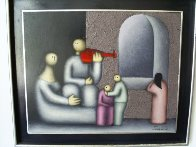 Hombre Con Violin 1977 15x19 Original Painting by Jesus Leuus - 1