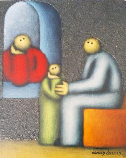 Untitled Mexican Family 1978 Original Painting - Jesus Leuus