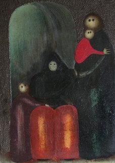 Women And Child  13x11 Original Painting by Jesus Leuus