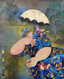 Golden Umbrella 2008 34x29 Original Painting - Dorit Levi