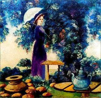 Untitled (Woman With Parasol) 1980 12x12 Original Painting - Dorit Levi