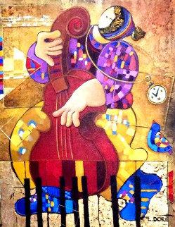 Street Singer 32x28 Original Painting - Dorit Levi