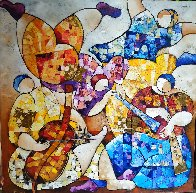 Untitled Painting 2000 43x43 Super Huge Original Painting by Dorit Levi - 0