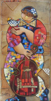 Untitled Girl With Bird and Instrument 32x24 Original Painting by Dorit Levi