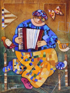 Accordionist 1996 16x12 Original Painting - Dorit Levi