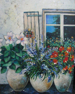 Flowers by the Window 2000 19x15 Original Painting - Dorit Levi