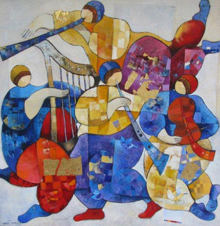 Musical Fest 2003 40x40 Original Painting - Dorit Levi