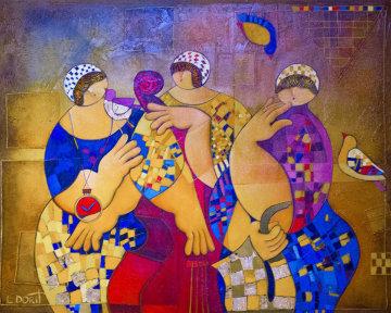 Clock 2007 46x38 Huge Original Painting - Dorit Levi