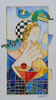 Surrounded By Love Watercolor 2009 8x14 Original Painting by Dorit Levi