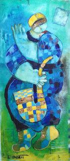 Saxophonist 27x12 Original Painting - Dorit Levi
