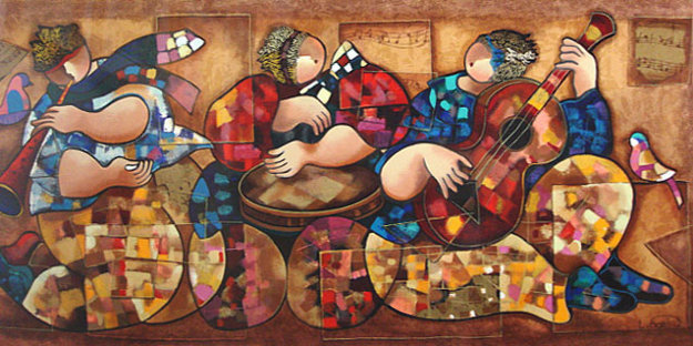 Ethnic Music Players Limited Edition Print by Dorit Levi