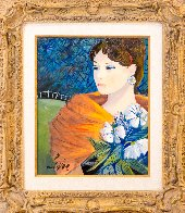 Fille Aux Fleurs 24x21 Original Painting by Charles Levier - 1