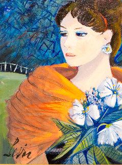 Fille Aux Fleurs 24x21 Original Painting - Charles Levier