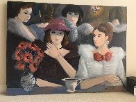 Le Cafe 1985 40x30 Super Huge Original Painting by Charles Levier - 1