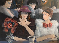 Le Cafe 1985 40x30 Super Huge Original Painting by Charles Levier - 0