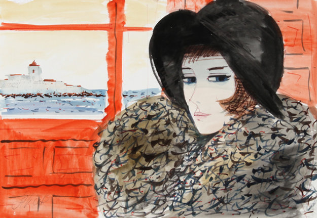Untitled (Portrait of a Girl in Black Hat) Watercolor 20x28 Watercolor by Charles Levier
