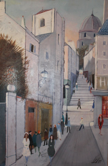 La Rue 45x33 Original Painting by Charles Levier