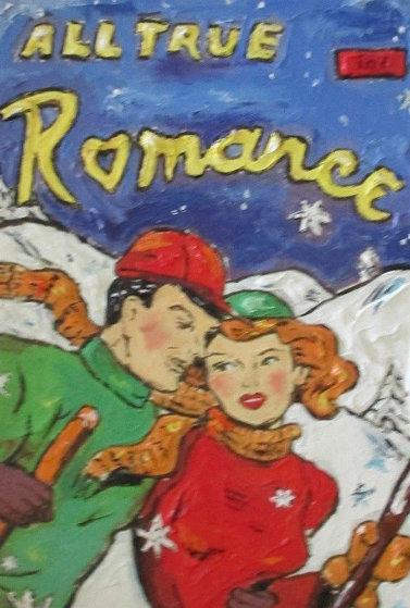Ski Romance   Unique 2010 Original Painting by Leslie Lew