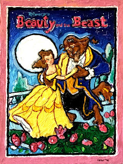 Beauty and the Beast 1996 33x26 Original Painting by Leslie Lew