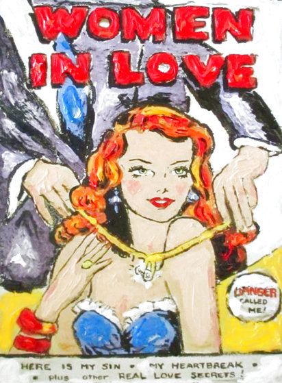 Women in Love Monotype 16x12 Original Painting by Leslie Lew