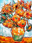 Sunflower Ode to Van Gogh 16x20 Original Painting - Leslie Lew