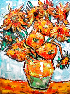 Sunflower Ode to Van Gogh 16x20 Original Painting - Leslie Lew
