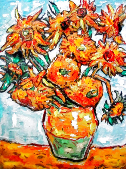 Sunflower Ode to Van Gogh 16x20 Original Painting by Leslie Lew