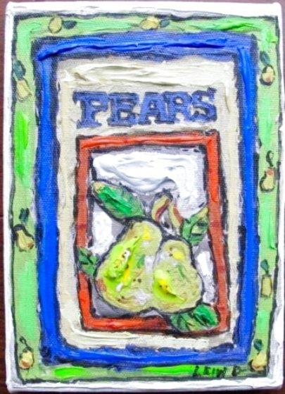 Pears #2 7x5 Original Painting by Leslie Lew