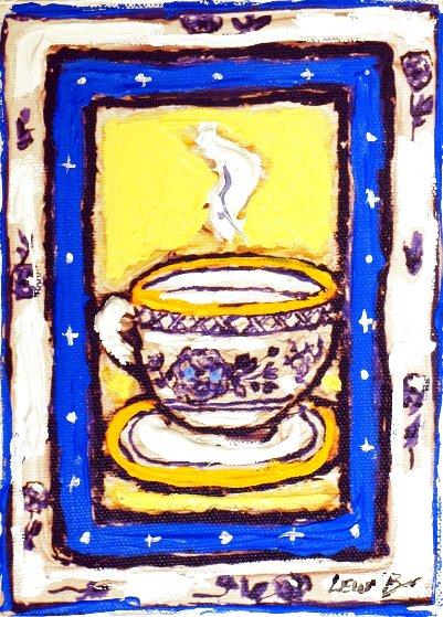 Wedgewood Cup #1 7x5 Original Painting by Leslie Lew