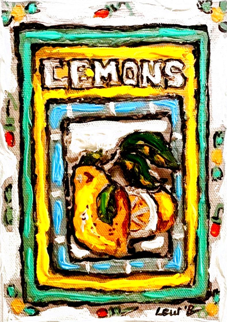 Lemons #8 7x5 Original Painting by Leslie Lew