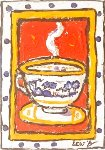 Red Dpot Cup 7x5 Original Painting - Leslie Lew