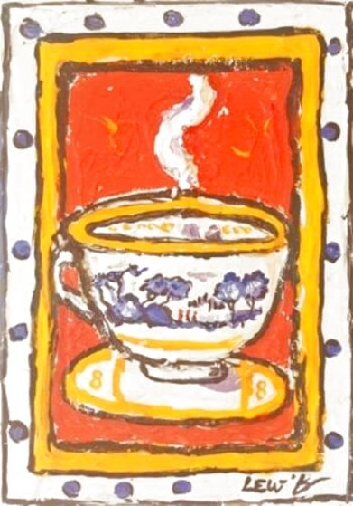 Red Dpot Cup 7x5 Original Painting by Leslie Lew