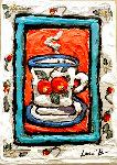 Peach Cup #3 7x5 Original Painting - Leslie Lew